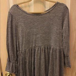 Tops - Grey stripped long top